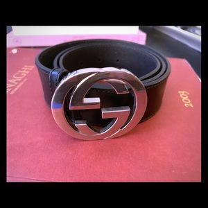 Gucci Leather Belt, Double G, black, Authentic